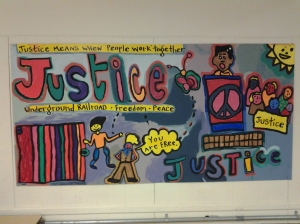 A Justice-Themed Mural Inside the Quinn Center