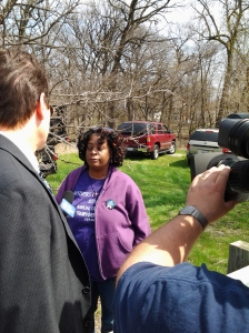 Germaine Porter is Interviewed by Television Reporter