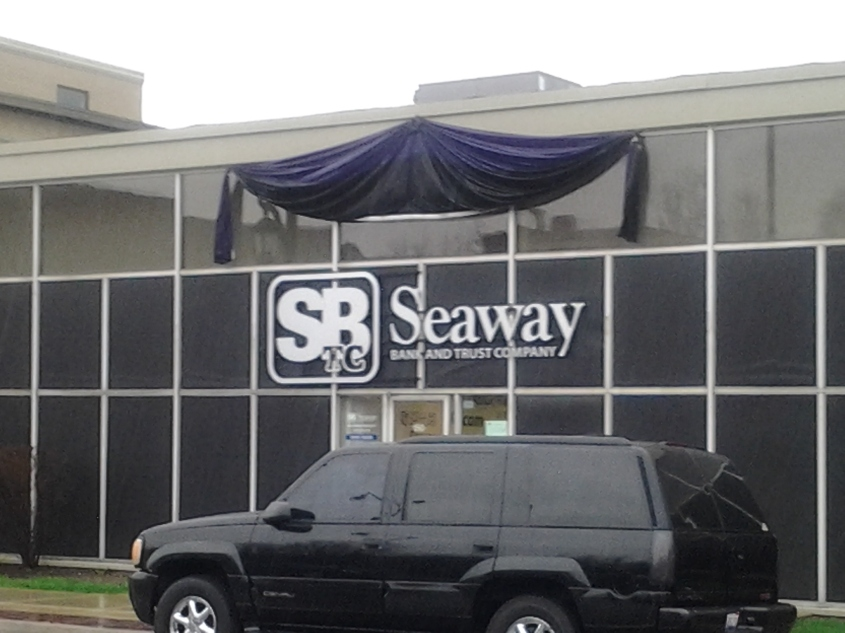 Seaway Bank Draped in Purple