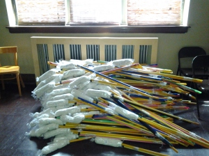 A pile of mops to be distributed