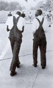 Marchers in overalls