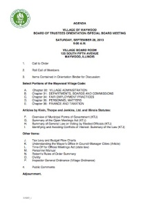 September 28, 2013, Special Board Meeting