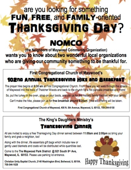 Thanksgiving Events in Maywood