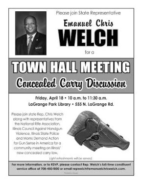 Rep. Welch Concealed Carry Town Hall, TODAY, April 18th @ 10AM