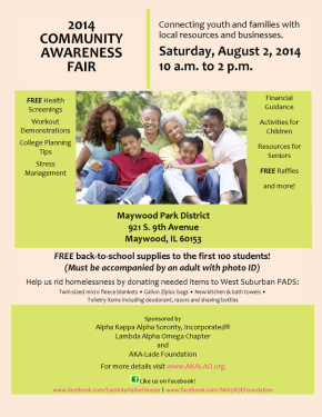 FREE Health Screenings, Back-to-School Supplies and More at AKA's Community Awareness Fair, August 2nd