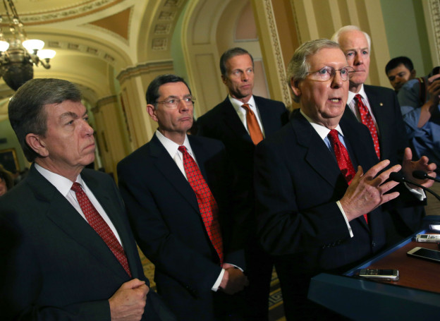 Senate Republicans Address The Media After Their Weekly Policy Meeting