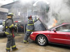 Briefly in Public Safety: Maywood Firefighters Battle Car Fire; Firefighter Challenge May Be Coming to Maywood; Chief Talley in the Community;More