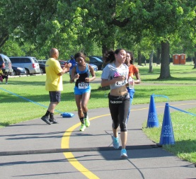 Maywood 5K racers finishing race