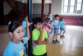 Summer students work on some physical games during a summer class in Maywood taught by Chicagoland Golden Apple Scholars in July of 2016.