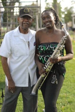 maywood-trustee-melvin-lightford-with-jazz-musician-drania-during-maywood-family-fest-last-weekend