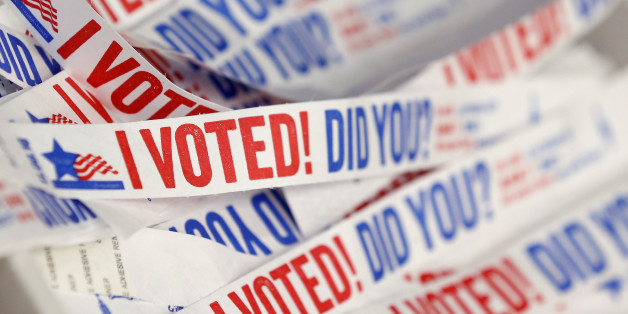 Wristbands for voters are seen at a polling station during early voting in Chicago