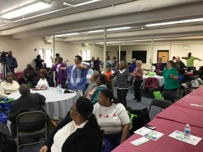 At Resource Fair, Maywood Seniors Enjoy Chair Yoga