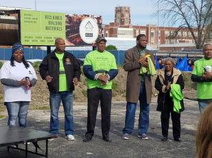 "Maywood Trustee Antonette Dorris, State Rep. Emanuel ""Chris"" Welch (7th), Maywood Trustee Michael Rogers, Maywood Trustee Isiah Brandon, Maywood Mayor Edwenna Perkins and Maywood Police Chief Valdimir Talley celebrate the event."