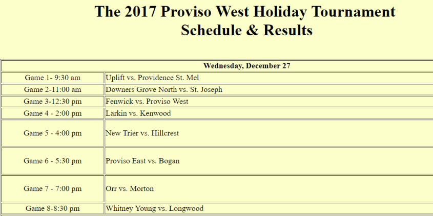 Proviso West Holiday Tournament schedule.png