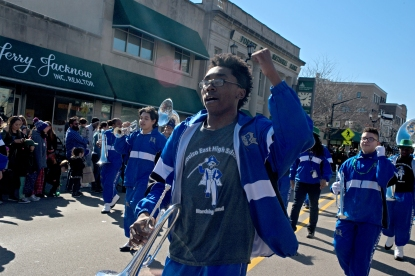Members of the Proviso East High School marching band perform for attendees on Saturday, March 3, 2018, during the annual Saint Patrick's Day Parade on Madison Street in downtown Forest Park, Ill.